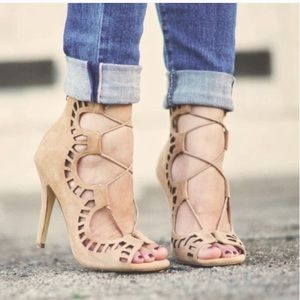 Shoemint nude Romy cut out nude lace up heels